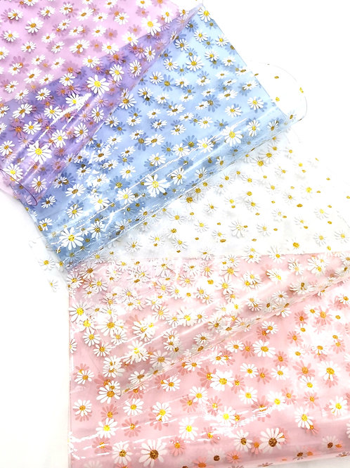 Bed of Daisies Glitter Transparent Fabric