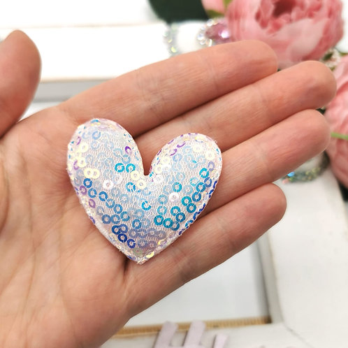 Embellishment - Padded Sequin Heart Iridescent