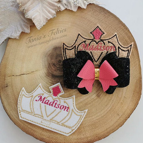 Glitter Crown Bow Tails