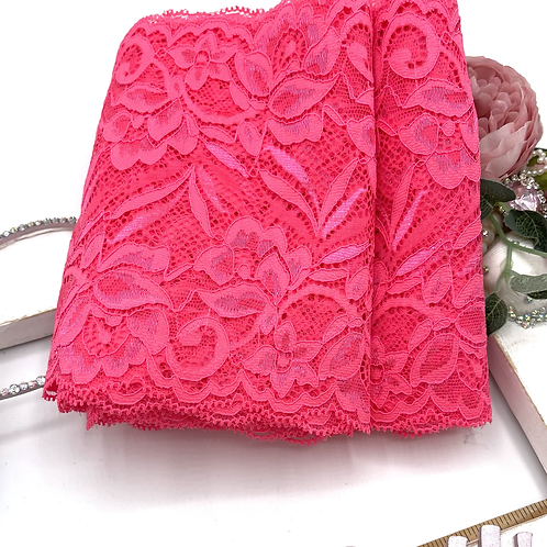 Luxury Lace Fabric Strips - Hot Pink