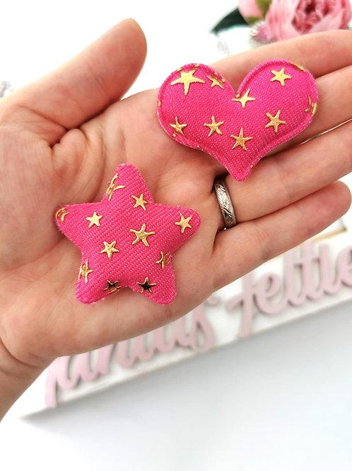 Embellishment - Pink Padded Denim Heart / Star