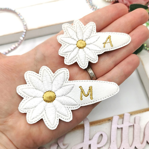 Embroidered Snap Clip Cover - White