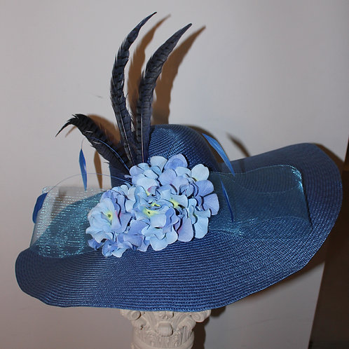 """Blue Bell Bonnet"" SOLD - blue Kentucky Derby Hat"