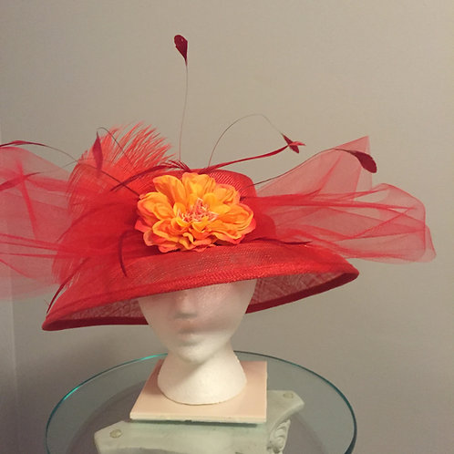 """Red Breeders' Cup or Kentucky Derby Hat - """"Red & Ready"""""""
