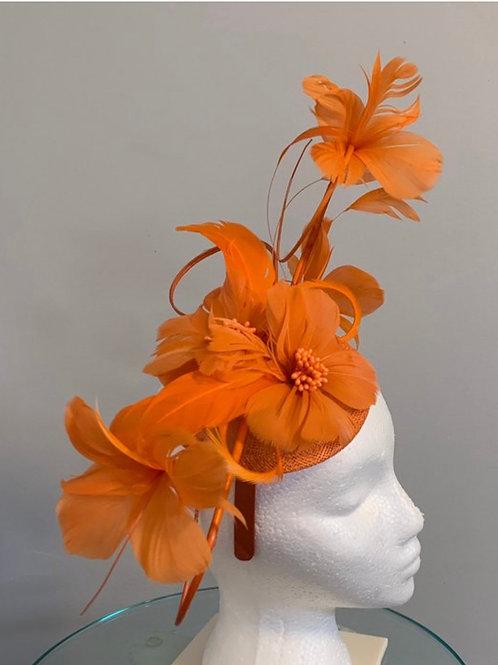 Kentucky Derby Fascinator Orange With a Twist