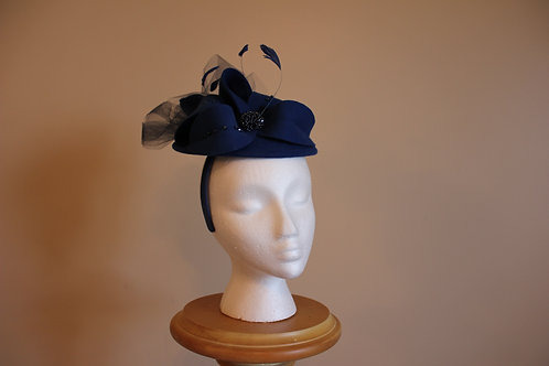 "SOLD ""Fascinator Fancy""-dark royal blue felt"