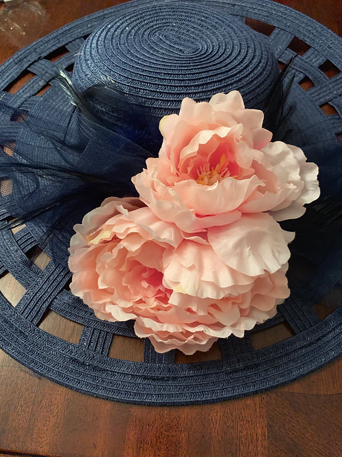 "Navy Kentucky Derby Hat ""Track at It "" SOLD"