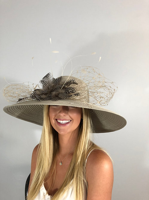 "Kentucky Derby Taupe Hat ""Taupe Treasure"""
