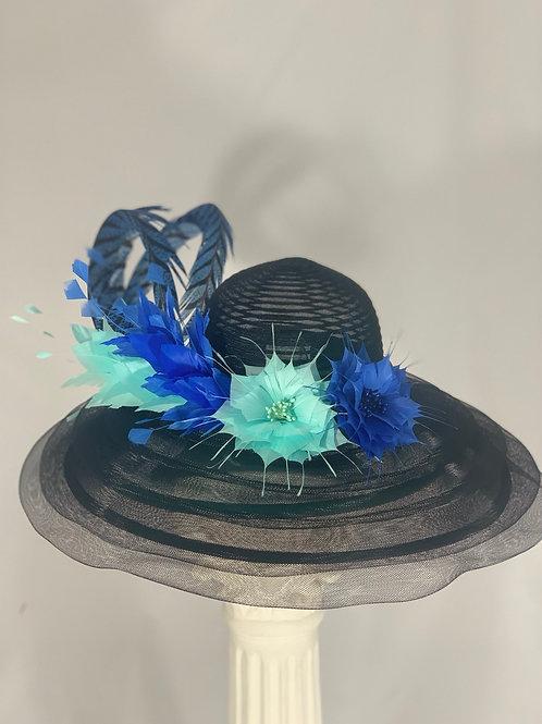 "Kentucky Derby Black Hat ""Black and Blue How Do Yo Do"""