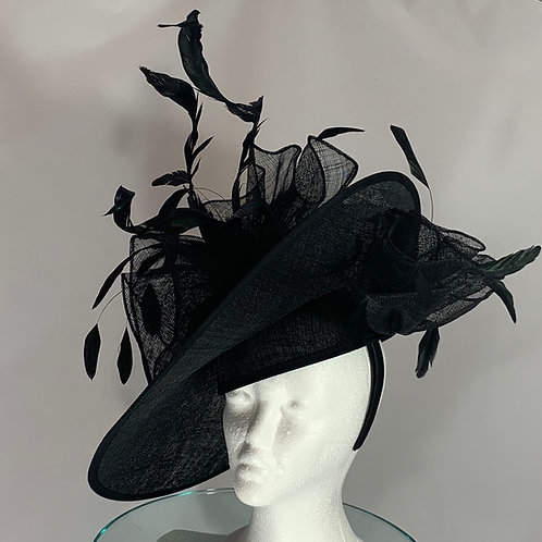 "Kentucky Derby black large disc fascinator ""Dark and Lucky"""