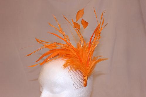 """Orange Kentucky Derby Fascinator """"Fuzzy Orange"""" SOLD"""