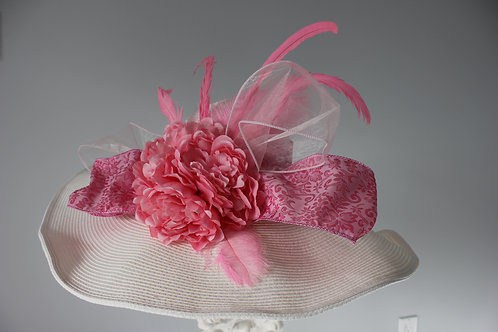 "Kentucky Derby Hat - Pink and White ""Pink & Precious"""