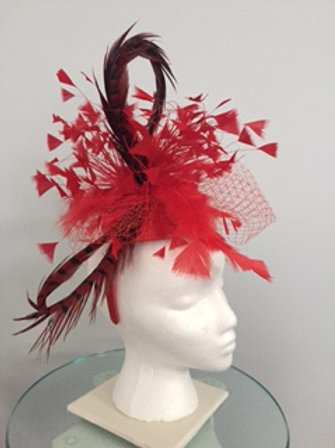 "Kentucky Derby Red Fascinator ""Horseshoe For Two"""