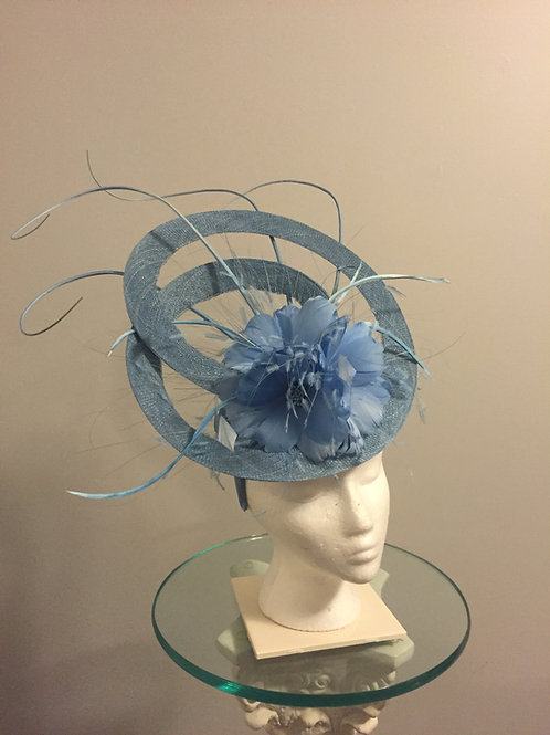 SOLD  Kentucky Derby Sky Blue Sinamay Fascinator - (SOLD) Poised In Pastel