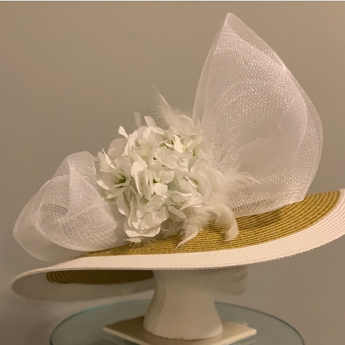 """White and Tan Kentucky Derby Hat """"Track Attack It """""""