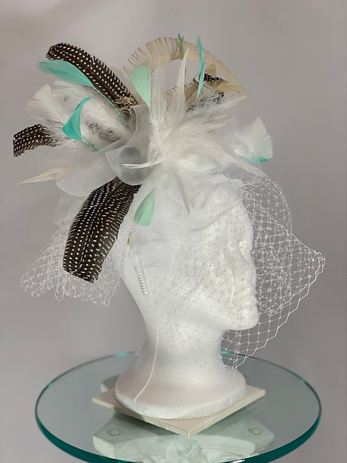 """Kentucky Derby White Fascinator """"Coasting to the Win"""""""