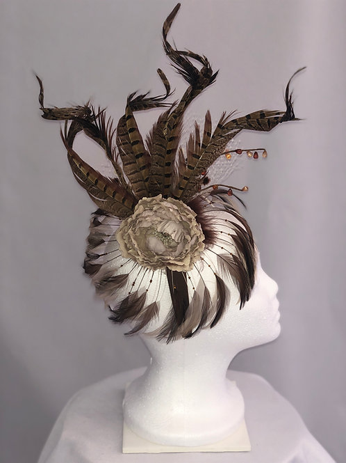 "Kentucky Derby Brown Fascinator ""Boho Beauty"""