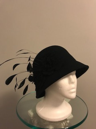 """Breeders' Cup Black cloche style fall/winter hat -""""Mystic Mystery"""""""