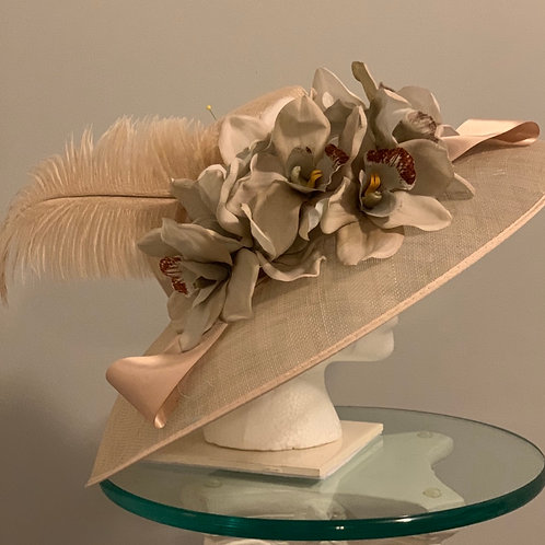 """SOLD Taupe Kentucky Derby Hat """"Champagne All Day"""""""