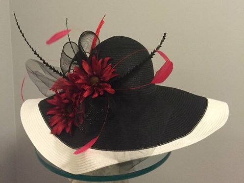 "Black and White Kentucky Derby Hat ""Coming Around the Turn"" SOLD"