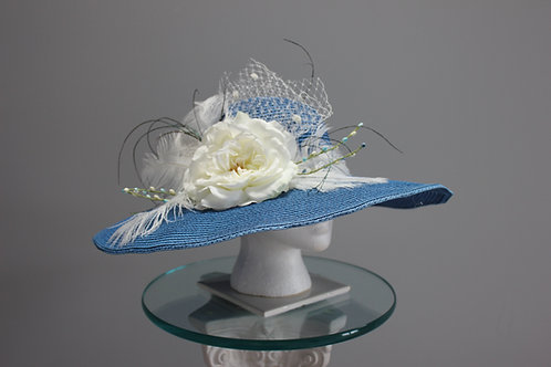 "Kentucky Derby Hat - ""Blue and White Delightful"" SOLD"