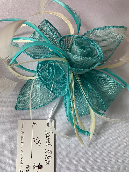 "Teal and White Kentucky Derby Fascinator on Clip ""Sweet Petite"" SOLD"
