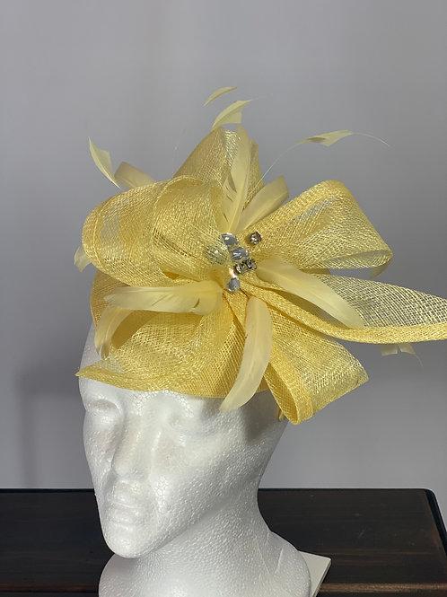 "Kentucky Derby Yellow Fascinator ""Lemoncello Light"""