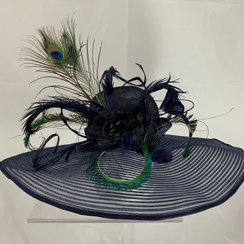 "Navy Kentucky Derby Hat ""Talk Peacock to Me"""