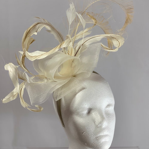 "SOLD - Beige fascinator ""First Class Filly"""