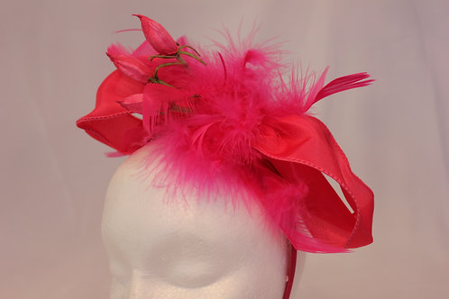 "Pink Fascinator - ""Pink Bow Lilly"""