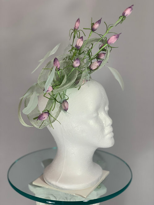 "Kentucky Derby fascinator -seafoam green and lavender ""Budding Beauty"""