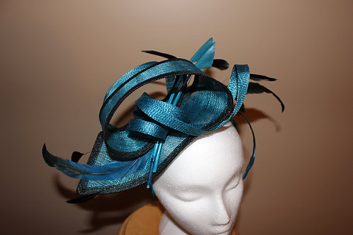 "SOLD ""Pretty and Proper"" - Teal and Black Fascinator"