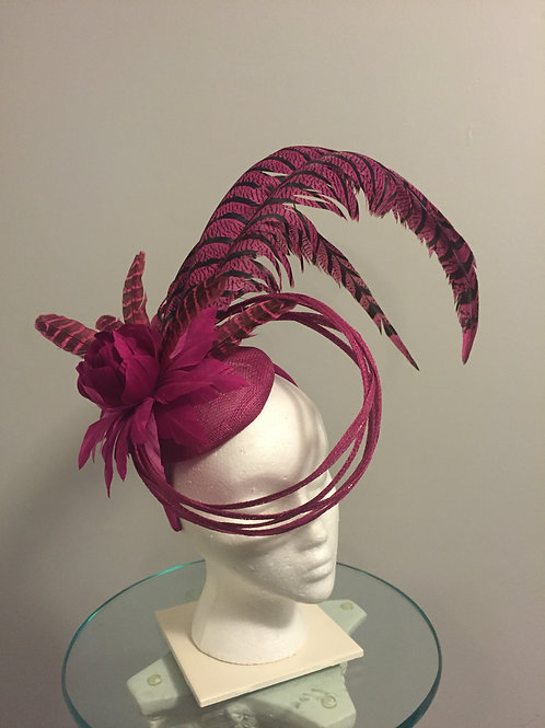 SOLD Kentucky Derby magenta/Fuchsia Fascinator - Luck Be a Lady SOLD !