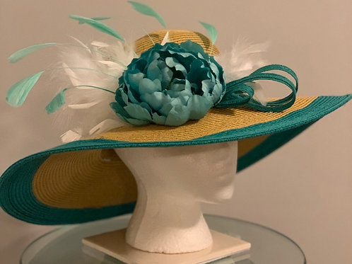 """Teal and Tan Kentucky Derby Hat """"Track at It """""""