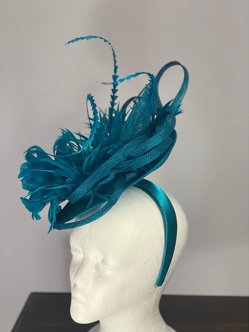 "Kentucky Derby Blue Fascinator ""Finish the Race"""