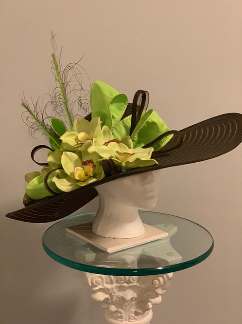 Brown KY Derby Hat - Lime Orchid Lady