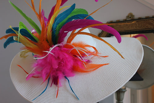 "SOLD ""Explosive Colors""- SOLD White KY Derby Hat"
