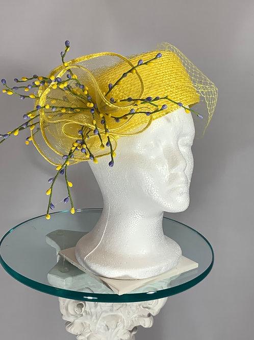 "Kentucky Derby Yellow pillbox Hat  ""Sunday Funday"""