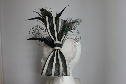 """Bowed to Perfection"" - Navy and off white sinamay fascinator"