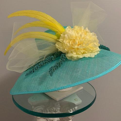 "Kentucky Derby Hat -""Yellow Aqua Lady"""