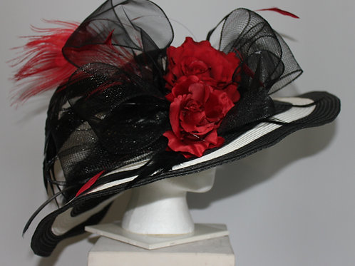 "Black and White Kentucky Derby Hat -""Cardinal Stripe"""