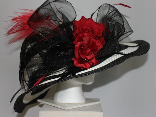 "Black and White Kentucky Derby Hat -""Cardinal Stripe"""