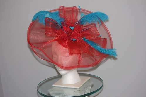 """Kentucky Derby Red and Blue Fascinator """"Red Race Winner"""""""