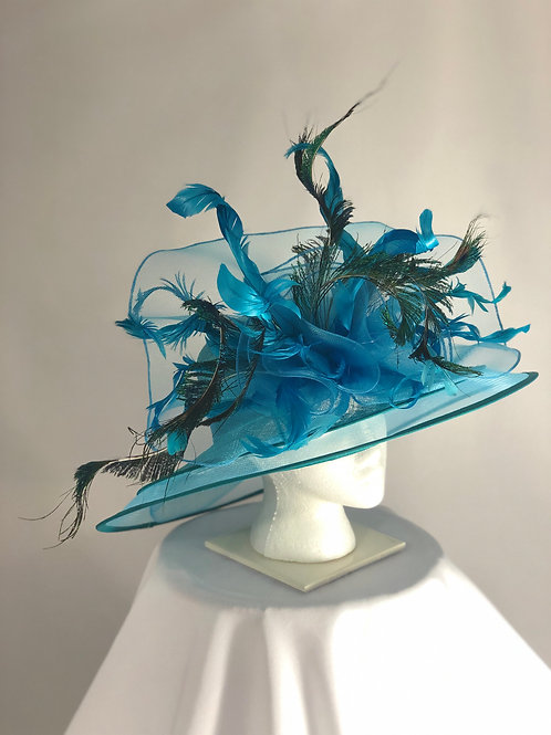 """Kentucky Derby Turquoise Hat """"Turquoise Tease"""""""