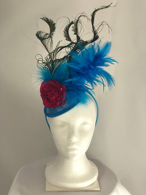 "Kentucky Derby Fascinator ""Blue Cockatoo"""