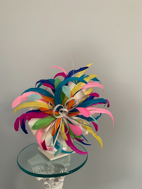 """Explosive Rainbow"" - Multicolor Fascinator SOLD"