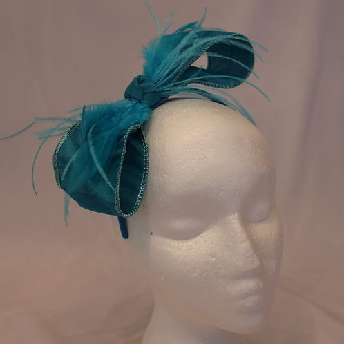 "Turquoise Blue Fascinator ""Blue Bow Lily"""