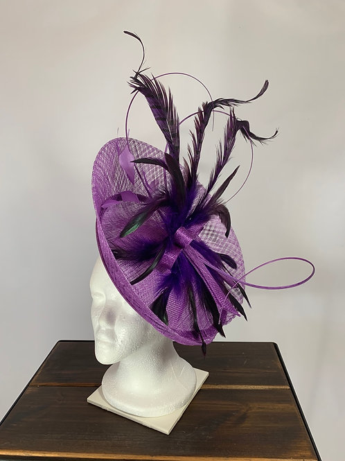 "Kentucky Derby Purple Oversized Fascinator ""Proud and Precious"