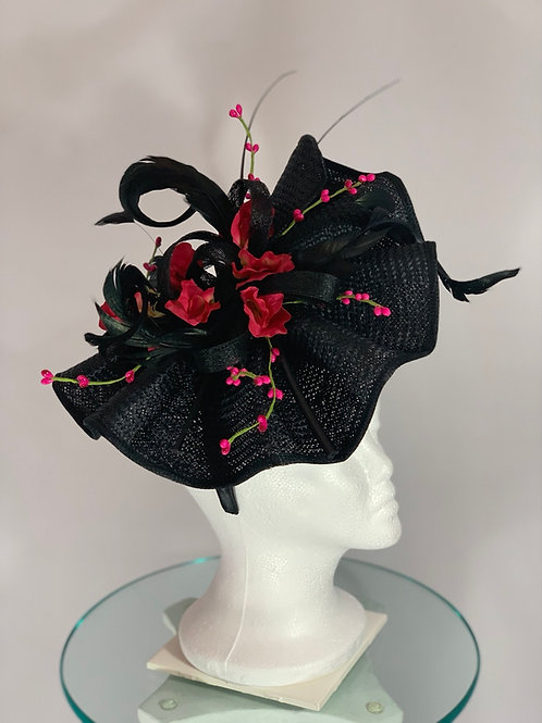 Kentucky Derby black Fascinator - Dark Delight
