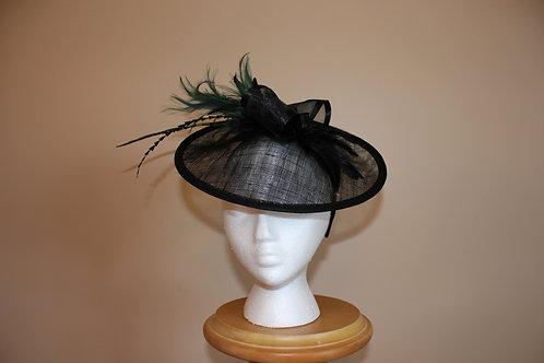 Bettin' Baby-black sinamay fascinator on headband